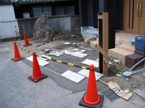 今堅田N邸 アプローチ下地施工